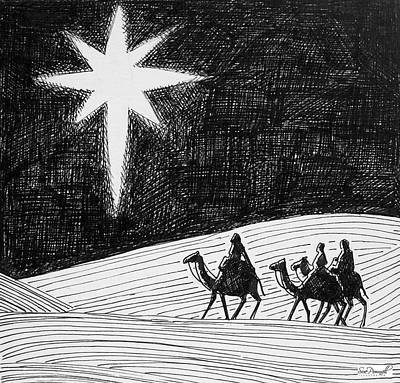 Drawing - Bethlehem Star by Sue Pownall