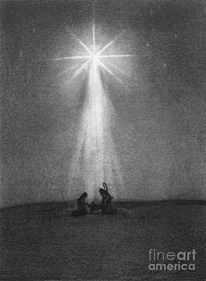 Pencil Drawing Of Jesus Drawing - Bethlehem's Star by J Ferwerda