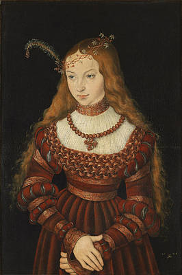 Tiara Photograph - Betrothal Portrait Of Sybille Of Cleves, 1526-7 Oil On Panel by Lucas, the Elder Cranach