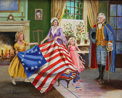 Betsy Ross Painting - Betsy Ross And George Washington by Jan Mecklenburg