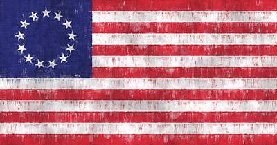Ross Digital Art - Betsy Ross Flag by World Art Prints And Designs