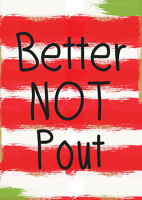 Painting - Better Not Pout - Striped Holiday Card by Linda Woods