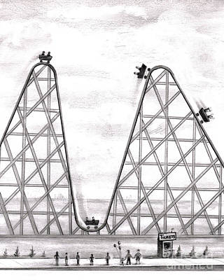 Roller Coaster Drawing - Better Worse Roller Coaster by Lee Serenethos