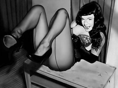Painting - Bettie Page by Andrew Harrison