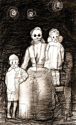 Goth Drawing - Bettina And The Twins by H James Hoff