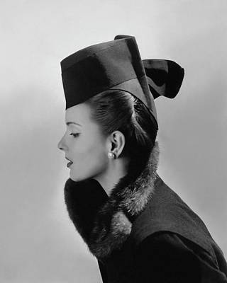 Bettina Bolegard Wearing A Chechia Hat Art Print by Horst P. Horst