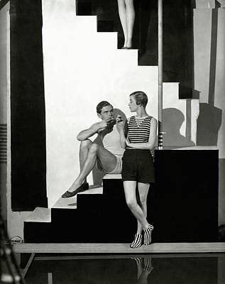 Young Man Photograph - Bettina Jones Posing With A Male Model by George Hoyningen-Huene