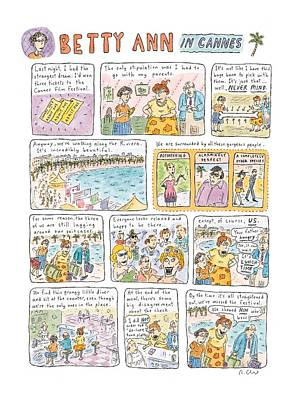 'betty Ann In Cannes' Art Print by Roz Chast