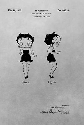 Lipstick Drawing - Betty Boop Patent Drawing by Dan Sproul