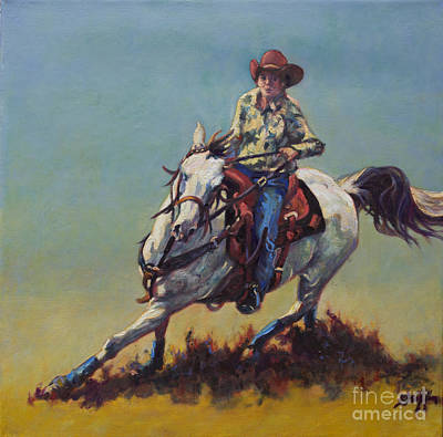 Barrel Racing Painting - Betty Jean by Patricia A Griffin
