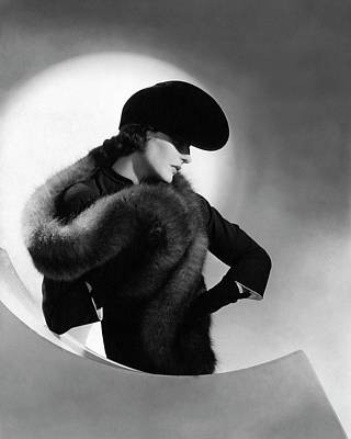 1930s Fashion Photograph - Betty Mclauchlen Wearing A Fox Stole by Horst P. Horst