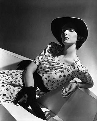 1930s Fashion Photograph - Betty Mclauchlen Wearing A Patterned Dress by Horst P. Horst