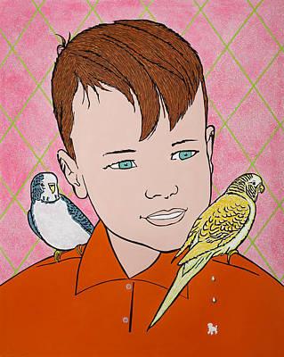 Parakeet Mixed Media - Between Good And Evil  by John Zoller