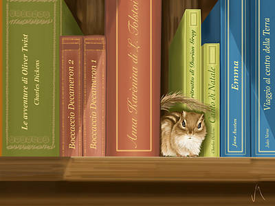 Digital Painting - Between The Books by Veronica Minozzi