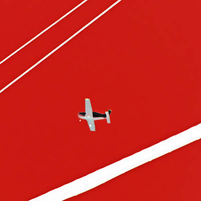 Photograph - Between The Lines Red Cube Plane by Tony Grider