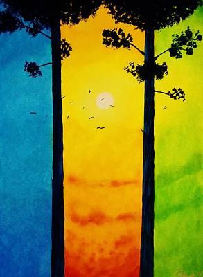 Between The Pines Art Print by Kyle  Brock