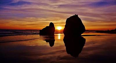 Reflection Photograph - Between The Rocks by Sarah Pemberton