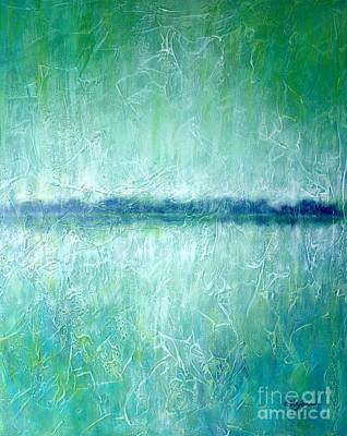 Abstract Seascape Painting - Between The Sea And Sky - Green Seascape by Cristina Stefan