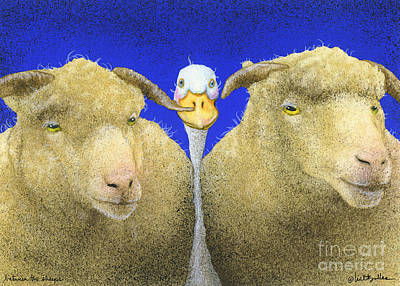 Ducks Painting - Between The Sheeps... by Will Bullas