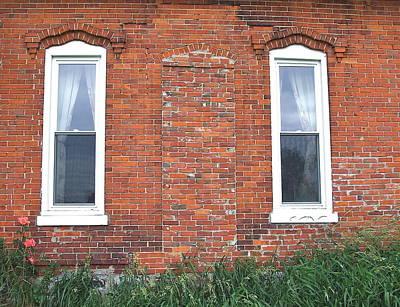 Michigan Farmhouse Photograph - Between The Windows by Susan Wyman