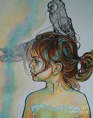 Between Two Parents Art Print by Ottilia Zakany