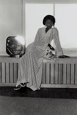 Photograph - Beverly Johnson Wearing A Striped Caftan by Kourken Pakchanian