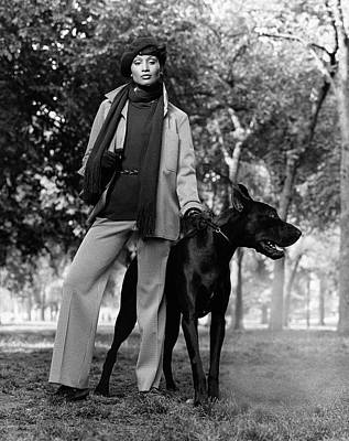 Great Dane Photograph - Beverly Johnson With A Dog by Francesco Scavullo