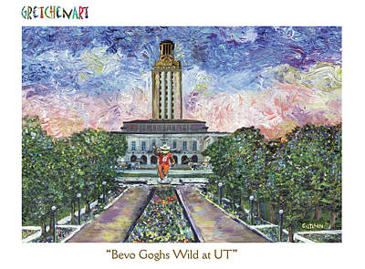 Austin Longhorns Painting - Bevo Goghs Wild At Ut Poster by GretchenArt FineArt