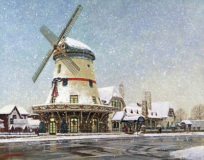 Windmills Painting - Bevo Mill At Christmas by Don  Langeneckert