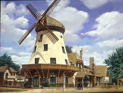Windmills Painting - Bevo Mill Springtime by Don  Langeneckert