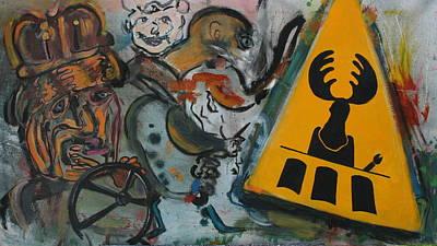 Painting - Beware Of Moose Playing 3 Card Monty by Dan Koon
