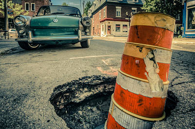 Le Plateau Photograph - Beware The Pot Holes by Martin New