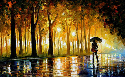 Poland Painting - Bewitched Park - Palette Knife Landscape Oil Painting On Canvas By Leonid Afremov by Leonid Afremov