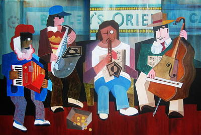 Painting - Dublin  The Bewley Buskers by Val Byrne