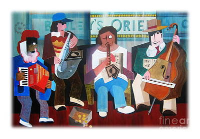 Tin Whistle Painting - Bewley's Oriental Cafe Buskers by Val Byrne