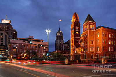 Bexar County Courthouse And Tower Life Building Main Plaza - San Antonio Texas Art Print by Silvio Ligutti
