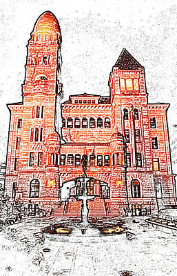 Digital Art - Bexar County Courthouse At Night In Downtown San Antonio Texas Colored Pencil Digital Art by Shawn O'Brien