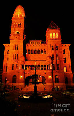 Digital Art - Bexar County Courthouse At Night In Downtown San Antonio Texas Ink Outlines Digital Art by Shawn O'Brien