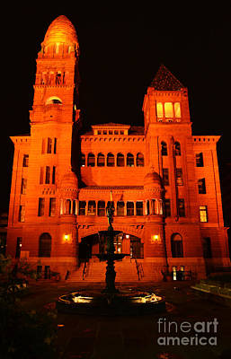 Photograph - Bexar County Courthouse At Night In Downtown San Antonio Texas by Shawn O'Brien