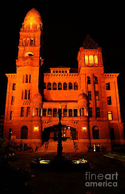 Digital Art - Bexar County Courthouse At Night In Downtown San Antonio Texas Watercolor Digital Art by Shawn O'Brien