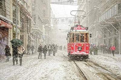 Snowstorm Photograph - Beyoa?lu by Murat Bakmaz