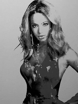Beyonce Knowles Painting - Beyonce Black N White by Brian Reaves