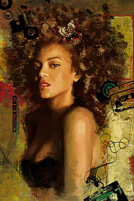 Popstar And Musician Paintings Royalty Free Images - Beyonce Royalty-Free Image by Corporate Art Task Force