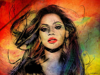 Rock Stars Painting - Beyonce by Mark Ashkenazi