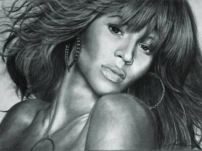 Hand Made Drawing - Beyonce Original Pencil Drawing by Murni Ch