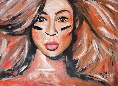 Jay Z Drawing - Beyonce Super Bowl Xlvii by LLaura Burge