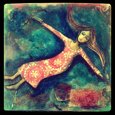 Floating Girl Mixed Media - Beyond The Bounds by Denise Daffara
