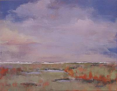 Shore Lines Painting - Beyond The Marsh by Laura Lee Zanghetti
