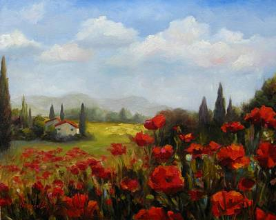 Villa Painting - Beyond The Poppies by Chris Brandley