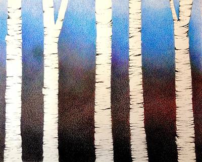 Gradient Drawing - Beyond The Trees by Elizabeth  Hoehn